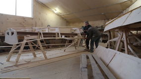Сonstruction of a boat at the shipyard stock video footage