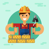 Сonstruction builder or worker. Vector flat style illustration of smiling construction builder or worker in hardhat with spatula, brick wall and thumbs-up Stock Photo