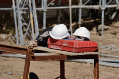 сonstruction helmets on the construction site. Image of сonstruction helmets on the construction site Royalty Free Stock Photos