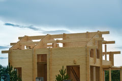 Сonstruction of houses from glued beams laminated beam. Stock Image