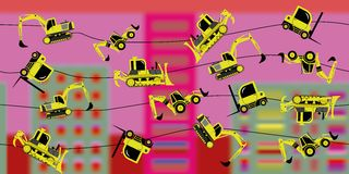Сonstruction machinery on a thread Stock Photography