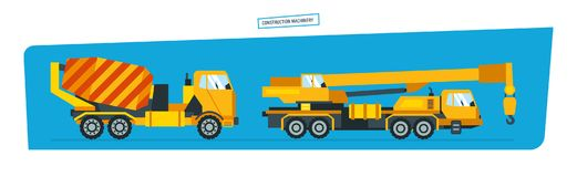 Onstruction machines, car with crane, vehicles for transportation, concrete mixer. Royalty Free Stock Image
