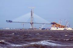 Onstruction process of Cadiz Second Bay Bridge Royalty Free Stock Photo