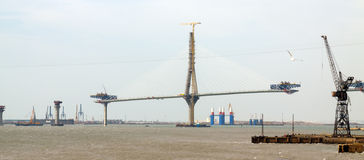 Onstruction process of La Pepa Bridge. Cadiz Royalty Free Stock Photos
