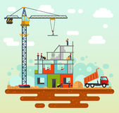 Сonstruction process.. Vector flat style illustration of construction process, city landscape. Including crane, sand and cement, unloading truck with sand Royalty Free Stock Photos