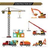 Сonstruction set. Flat style vector illustration of construction,  on white background. Including concrete mixer, truck crane, crane, bulldozer, excavator and Stock Photo