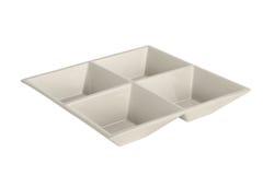 4 ont divisé le plateau en céramique blanc Image stock