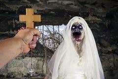 Ont monster för demonlevande dödspöke i bunker WW2 fotografering för bildbyråer