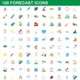 100 ont prévu des icônes réglées, style de bande dessinée illustration libre de droits