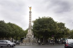 Ontaine du Palmier or Fontaine de la Victoire and traffic road. French people and foreigner travelers visit Fontaine du Palmier or Fontaine de la Victoire and royalty free stock photos