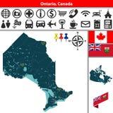 Ontario avec des villes, Canada Illustration Stock