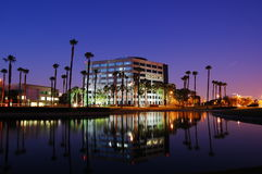 Ontario,CA. An office building in Ontario,Ca next to a man made lake near the international airport Royalty Free Stock Photos