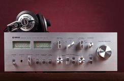 Ontario, Canada - December 26 2017: Vintage Stereo Amplifier Fro. Vintage Stereo Amplifier Metal Frontal Panel with VU meters stock photo