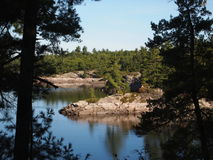 Ontario Lake Country. Crotch Lake Ontario in September with its many islands and bays. Surrounded by Crown Land, fishing is excellent stock images