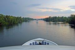 Ontario lake cruise. Boat Ontario lake cruise in time of sunset Stock Photos