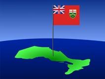 Ontario met vlag Stock Foto's