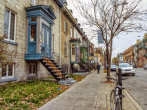 Ontario Street Montreal. Ontario Street officially in French: Rue Ontario is an east-west artery in Montreal, Quebec, Canada. It crosses the boroughs of Ville Royalty Free Stock Image