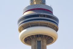 Ontario, Toronto, Canada. June 2010, CN Tower close up to the top of the building stock photography