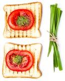 Ontbijt dat met elementen van toostbrood wordt geplaatst, die op witte B worden geïsoleerd Stock Foto's