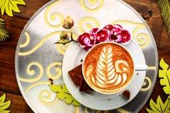Ontbijt in de koffie Stock Foto's