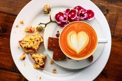 Ontbijt in de koffie Stock Foto