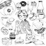 Ontbijt en meisje vector illustratie