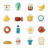 Ontbijt en Voedselpictogrammen Royalty-vrije Stock Afbeelding