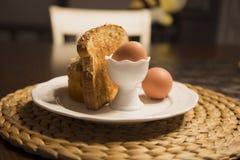 Ontbijt - Gekookt Ei Royalty-vrije Stock Afbeelding