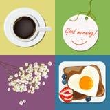 Ontbijt, Goedemorgencollage, roereieren, koffie, bloemen Vector Royalty-vrije Stock Fotografie