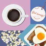 Ontbijt met de wensen van goedemorgen Door elkaar gegooide collage, b.v. Stock Foto's