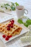 Ontbijt met eigengemaakte wafels en koffie met de lentebloei stock afbeeldingen