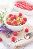 Ontbijt met frambozen en honing Royalty-vrije Stock Foto's