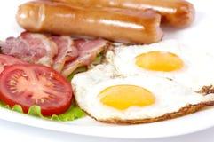 Ontbijt met gebraden eieren met bacon Stock Afbeelding