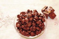 Ontbijt met gianduiachocolade, graangewassen en hazelnoten royalty-vrije stock afbeelding