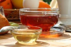 Ontbijt met honing. stock fotografie