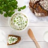 Ontbijt met inbegrip van kwark, brood Stock Afbeelding