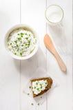 Ontbijt met inbegrip van kwark, brood Stock Afbeeldingen