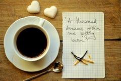 Ontbijt met Italiaanse koffie en suiker Stock Foto