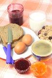 Ontbijt met jam en koffie Royalty-vrije Stock Foto