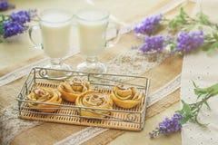 Ontbijt met smakelijke eigengemaakte appelcakes en melk Royalty-vrije Stock Afbeeldingen