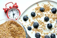 Ontbijt met yoghurt, bosbes en lijnzaad Stock Fotografie