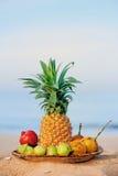 Ontbijt op strand stock fotografie