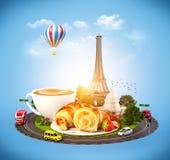 Ontbijt in Parijs stock illustratie