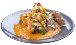 Ontbijt Plantaardige hutspot met croutons royalty-vrije stock afbeeldingen