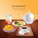 Ontbijt Realistische Achtergrond vector illustratie