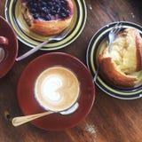 Ontbijt van koffie en brood Royalty-vrije Stock Foto