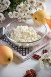 Ontbijt van kwark, peer royalty-vrije stock fotografie