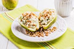 Ontbijt van peren met kaas Stock Afbeeldingen