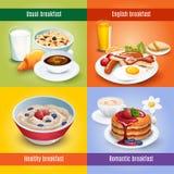 Ontbijt 4 vlakke pictogrammen vierkante combinatie Stock Afbeeldingen