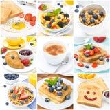 Ontbijtcollage van negen foto's Stock Foto